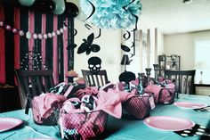 Table setup with basket of spa goodies for guests. Monster High Spa birthday party.