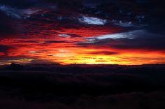 Beautiful sunrise at the Summit of Haleakala National Park, Maui, Hawaii.