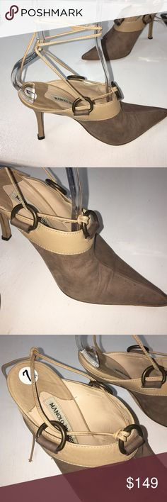 Manolo Blahnik leather Taupe ankle wrap heels Pointed toe leather open back slide in mule style heels; great condition with lite signs of wear; leather soles; made in Italy. Nice brass ring embellishments secure leather ties. Manolo Blahnik Shoes Heels