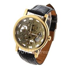 Stylish Golden Dial Mechanical Watch with Water Resistant Leather Watchband for Male Mechanical Watch, Sammy Dress, Watch Bands, Watches, Stylish, Silver, Leather, Men, Accessories