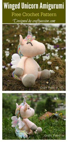 Crochet amigurumi 233202086942410463 - Winged Unicorn Amigurumi Free Crochet Pattern Source by toutunfil Crochet Pattern Free, Crochet Gratis, Crochet Patterns Amigurumi, Crochet Dolls, Knit Crochet, Amigurumi Toys, Crochet Beanie, Easy Knitting Projects, Crochet Projects
