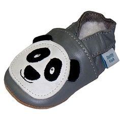 Dotty Fish Leder Babyschuhe - rutschfest Wildledersohle - chromfrei weiche Lederschuhe - Baby Jungen und Mädchen - grau Panda - 0-6 Monate bis 3-4 Jahre - Gr. 18 bis 28