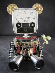 Bamboo Bot found object robot sculpture assemblage by by ckudja