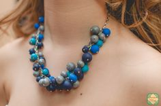 Silver Blue Fimo Necklace