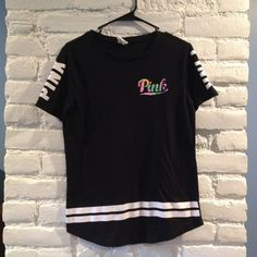 Vs PINK Shirt  In excellent condition! Only worn a couple times. Long/tunic style. Very cute black and white with tie die Pink on the front!  Length from top to bottom is 27 inches. PINK Victoria's Secret Tops Tees - Short Sleeve