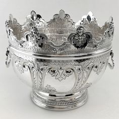 OnlineGalleries.com - ANTIQUE VICTORIAN SOLID SILVER MONTEITH BOWL 1862 BRITANNIA STANDARD REMOVABLE RIM