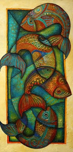 Beautiful mixed media picture of fishes. Love the color used and the stained glass approach.