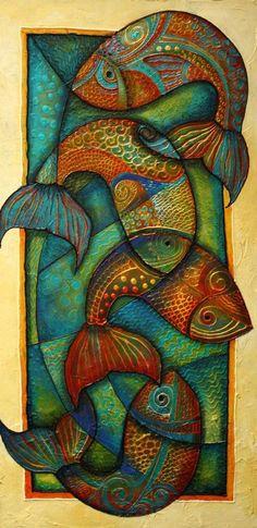J Vincent Scarpace Artist Original Abstract Fish Art