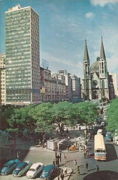 Se Square in the 60's - At left the Mendes Caldeira building, demolished in 70's Sao Paulo - Brazil