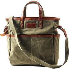 Canvas Leather Mens Side Bag Army Green 12'' Tote Postman Bag Messenger Bag for Men Leather Handbags, Leather Totes, Women's Handbags, Leather Bags, Canvas Leather, Cheap Handbags, Luxury Handbags, Canvas Messenger Bag, Messenger Bag Men