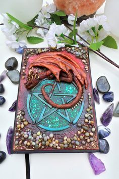 Items similar to Dragon on Pentagram Journal Cover Polymer Clay on Etsy Polymer Clay Dragon, Polymer Clay Art, Book Cover Art, Book Art, Polymer Journal, Polymer Clay Projects, Journal Covers, Book Of Shadows, Bookbinding
