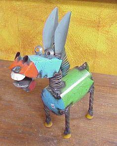 Mexican metal art donkey...love the teeth :)