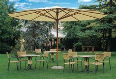 Scolaro - Italiaanse houtframe parasol met dubbel katrolsysteem. Van duurzaam irokohout