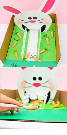 This Feed the Bunny Easter Game is a great Easter craft for kids and also a fun fine motor skills activity! Kids will love feeding the bunny carrots! craft carrots Feed The Bunny Easter Game Easter Games For Kids, Easter Activities, Easter Crafts For Kids, Craft Activities For Kids, Toddler Crafts, Preschool Crafts, Diy For Kids, Craft Kids, Literacy Activities