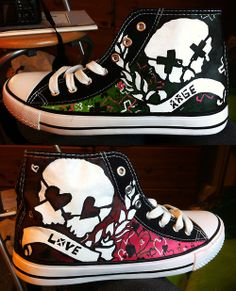 Hand Painted Green Day Rage and Love Converse by RahulMistry.. I must have them.