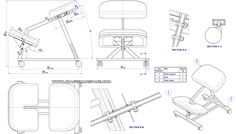 Metal kneeling chair - Assembly drawing