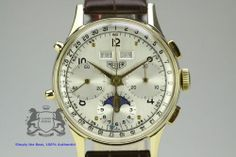 HEUER Dato-Compax Moonphase Triple Calendar 14 Karat Gold Cal. Valjoux 88 (692)
