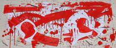 """Andrea Mattiello - CORSA INTERROTTA DALL'ESPLOSIONE DI UN CUORE VOLANTE - acrilico collage e grafite su cartone vegetale cm 83x35 Serie """"Listen to your heart"""" L'amore con i suoi tormenti è il protagonista delle opere di questa serie.  www.livinart.it"""
