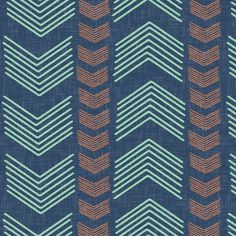Herringbone Stripe in Navy Mint and Coral fabric by sparrowsong on Spoonflower - custom fabric