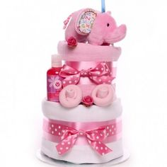 Two tier elephant rattle budget nappy cake, for a little baby girl. Little Baby Girl, Little Babies, Baby Girls, Baby Girl Cakes, Nappy Cakes, Gift Store, Having A Baby, How To Make Cake, Unique Gifts