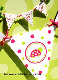 So cute!!! Turtle PRINTABLE Pennant Banner  DIY  Pink by thebakersconfections, $3.75
