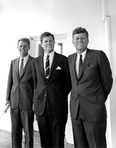 President John F. Kennedy and his brothers, Attorney General Robert F. Kennedy and Senator Edward M. Kennedy outside the Oval Office, White House ~ August 28, 1963