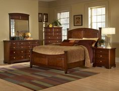 Brown Wood Bedroom Furniture - Nowadays people not only watch out for complete Bedroom Furniture Sets, which could create syn Cherry Wood Furniture, Dark Wood Bedroom Furniture, Wood Bedroom Sets, Bedroom Colors, Bedroom Decor, Modern Bedroom, Bedroom Ideas, Pine Furniture, Traditional Bedroom Furniture Sets