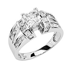 14K White Gold Solitaire Princess