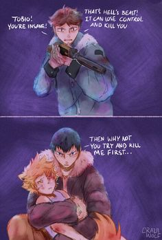 """An au where Hinata is a smol and """"terrifying"""" werewolf who howls at the morning sun. And Kageyama is a hunter who couldn't hunt down the tiny beast for obvious reasons (♥ω♥*)"""