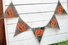 distressed JACKOLANTERN burlap banner for Halloween by LylaDee, $12.00