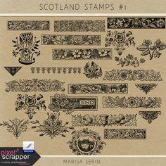 Scotland Stamps Kit #1 | digital scrapbooking | photoshop brushes, ephemera, travel, stamps