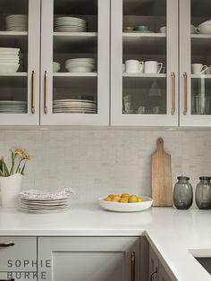 Gray Cabinets Brass Pulls, Transitional, kitchen, Sophie Burke Design