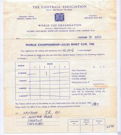 1966 World Cup Group C Season Ticket application success letter