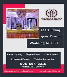 The professional parties decoration services in GTA, Brampton, Toronto Area. Call Diamond Decor event decorator today and book for your next upcoming event. Diamond Decorations, Wedding Decorations, How To Preserve Flowers, Gta, Event Decor, Toronto, Wedding Flowers, Dream Wedding, Parties