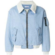 Gosha Rubchinskiy denim bomber jacket ($650) ❤ liked on Polyvore featuring men's fashion, men's clothing, men's outerwear, men's jackets, blue, mens blue jean jacket and mens blue jacket