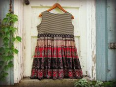 M-L Urban Gypsy Tank Top Tunic// Upcycled Bohemian Empire Waist Top// Black Red Cream// emmevielle