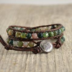 Earthy leather wrap bracelet. Boho chic beaded by SinonaDesign