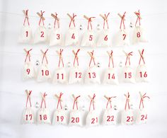 Advent calendar / 24 minimalist Advent calendar bags / Advent calendar kit / European Advent calendar / Christmas countdown drawstring bags