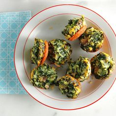 Mini Spinach Frittatas Recipe -People can't get enough of these pop-in-your-mouth mini frittatas. They're a cinch to make, freeze well and the recipe easily doubles for a crowd. —Nancy Statkevicus, Tucson, Arizona
