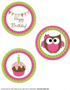 http://sweetrosestudio.com/wp-content/uploads/2011/12/Owl-Birthday-Large-Circles-General-1-791x1024.jpg  Lisa Review: Perfect free printable for hanging on my branches in my vase on the table for Charlotte's party.