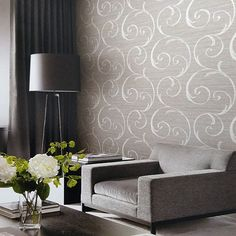 Seabrook Lux Decor. Notting Hill Scroll Wallpaper