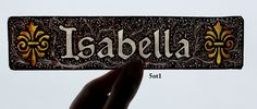 Stained Glass Window Fragment, Name, Isabella, hand painted new fragment : 5ot1. $30.00, via Etsy.