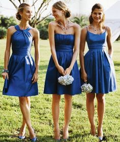 "Secret #1:  Consider choosing bridesmaid dresses that are the same fabric or same color, but different styles!  For example, either all satin dresses or pink chiffon dresses.  Remember – the key is having ""like"" fabric.Shhh... its a secret! Tips for having Mismatched Bridesmaids"
