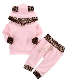 Baby Girls Pink Leopard Outfit 2 Piece Cute Newborn Baby Girls Pink Leopard Hoodie T-shirt Top and Pants Outfit Set - Unique Baby Outfits Legging Outfits, Hoodie Outfit, Pants Outfit, Girls Fashion Clothes, Toddler Fashion, Girl Clothing, Infant Clothing, Fashion Children, Cute Newborn Baby Girl