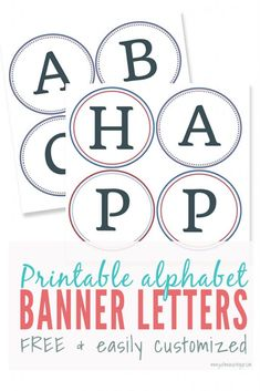 Free printable banner letters and tutorial - perfect for holidays and birthday parties. These printable letters and numbers are perfect for making diy banners. Customize them with for holidays or home decor by add colorful card stock. Alphabet Letters To Print, Free Printable Alphabet Letters, Alphabet Templates, Letter Worksheets, Free Banner, Diy Banner, Banner Template, Happy Birthday Banner Printable, Lettering
