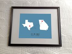 Personalized Map Outline of State or Country with Hearts in Cities Graphic Art Print -WITH MATTE & FRAME- Custom Wedding or Engagement gift
