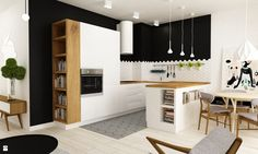 white and black kitchen in Polish apartement