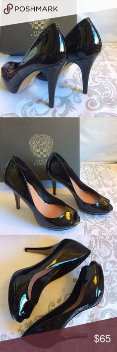 "VINCE CAMUTO SIZE 9.5 🌼Black smooth patent peep-toe heels  🌼4.5"" heel, with almost 1"" platform  🌼Size 9.5/39.5(more like 40.5) 🌼I wore these beauties to a show opening at an art gallery for a few hours, so condition is excellent/like new. There is one area where the lining has worn (as seen in last photo) I put in clear heel cushions because they were slipping off 🌼As far as the size, it is just my opinion -but they are a bit narrow in the toe box.  🌼Comes in original box! Shoes Heels"