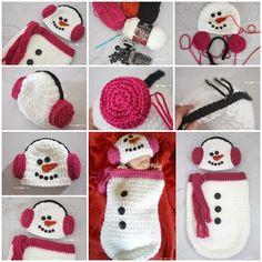 Crochet Snowman Ear Muff Hat and Cocoon wonderfuldiy2