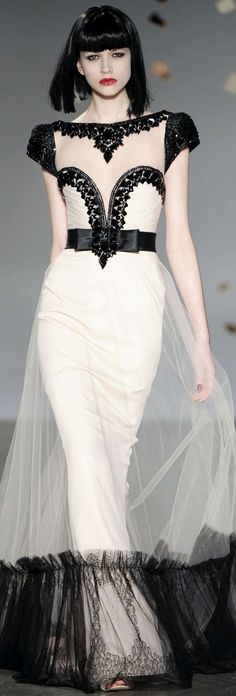 Georges Hobeika Haute Couture Spring Summer 2010 Collection black & ivory *~❤•❦•:*´`*:•❦•❤~*